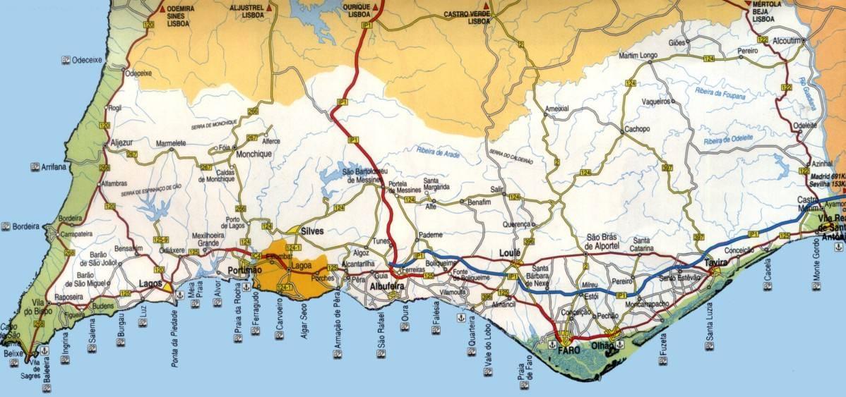 Algarverentahouse Largel Algarve Map